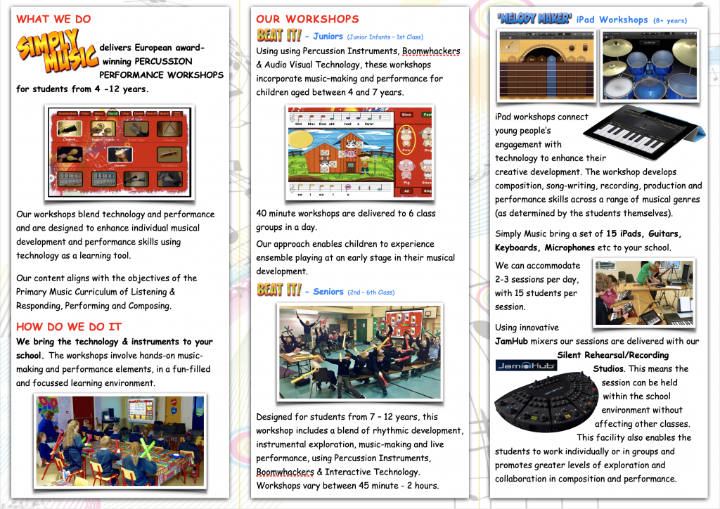 Simply Music percussion workshops brochure